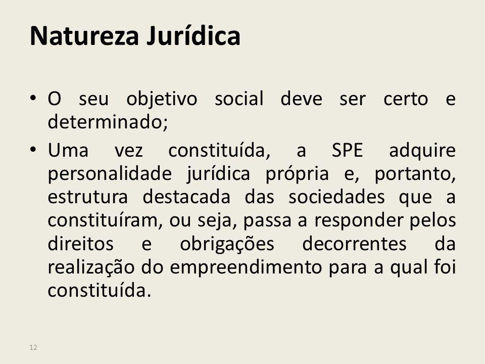 12 Natureza Jurídica O seu objetivo social deve ser certo e determinado; Uma vez constituída, a SPE adquire personalidade jurídica própria e, portanto