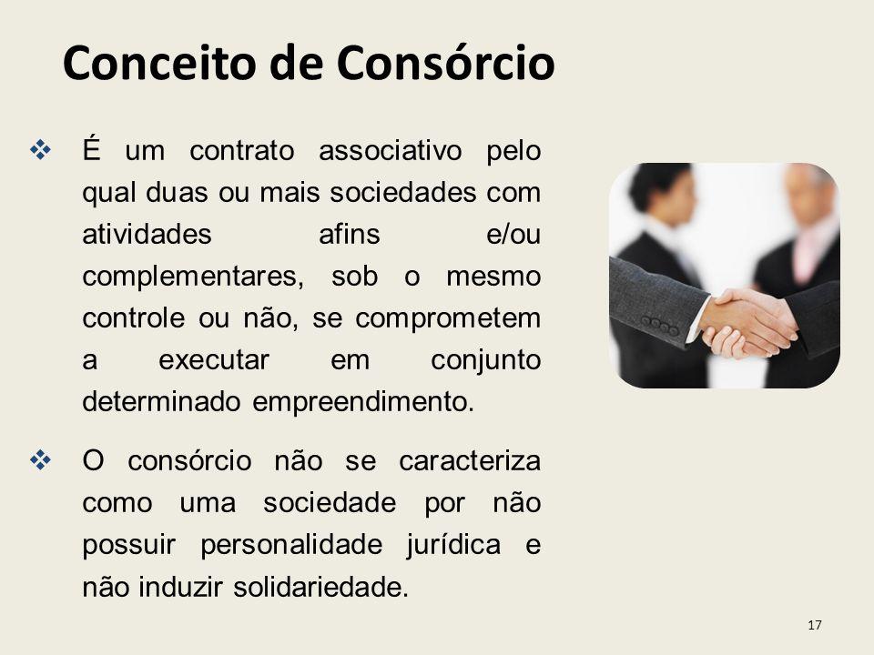 17 É um contrato associativo pelo qual duas ou mais sociedades com atividades afins e/ou complementares, sob o mesmo controle ou não, se comprometem a