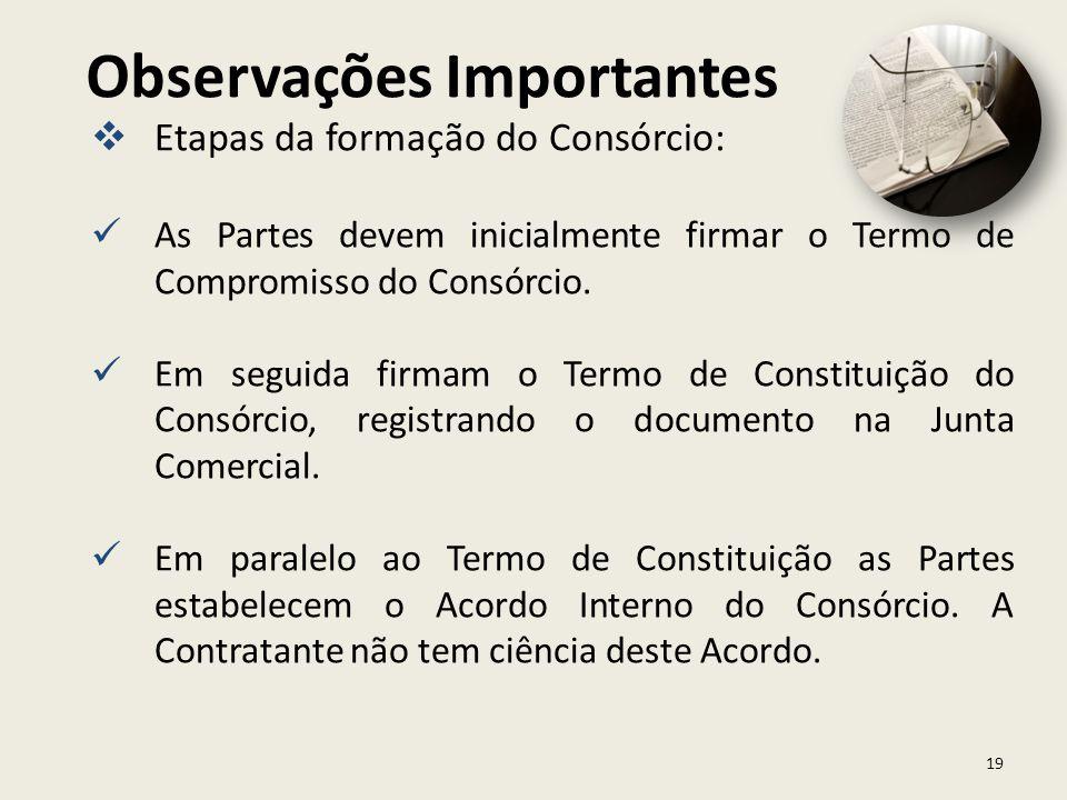19 Etapas da formação do Consórcio: As Partes devem inicialmente firmar o Termo de Compromisso do Consórcio. Em seguida firmam o Termo de Constituição