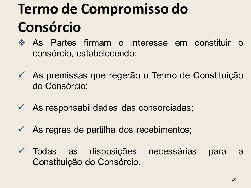 20 As Partes firmam o interesse em constituir o consórcio, estabelecendo: As premissas que regerão o Termo de Constituição do Consórcio; As responsabi