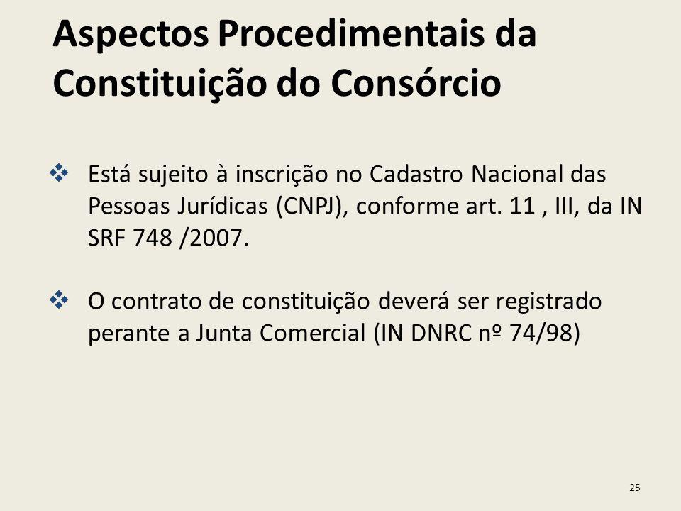 25 Está sujeito à inscrição no Cadastro Nacional das Pessoas Jurídicas (CNPJ), conforme art. 11, III, da IN SRF 748 /2007. O contrato de constituição