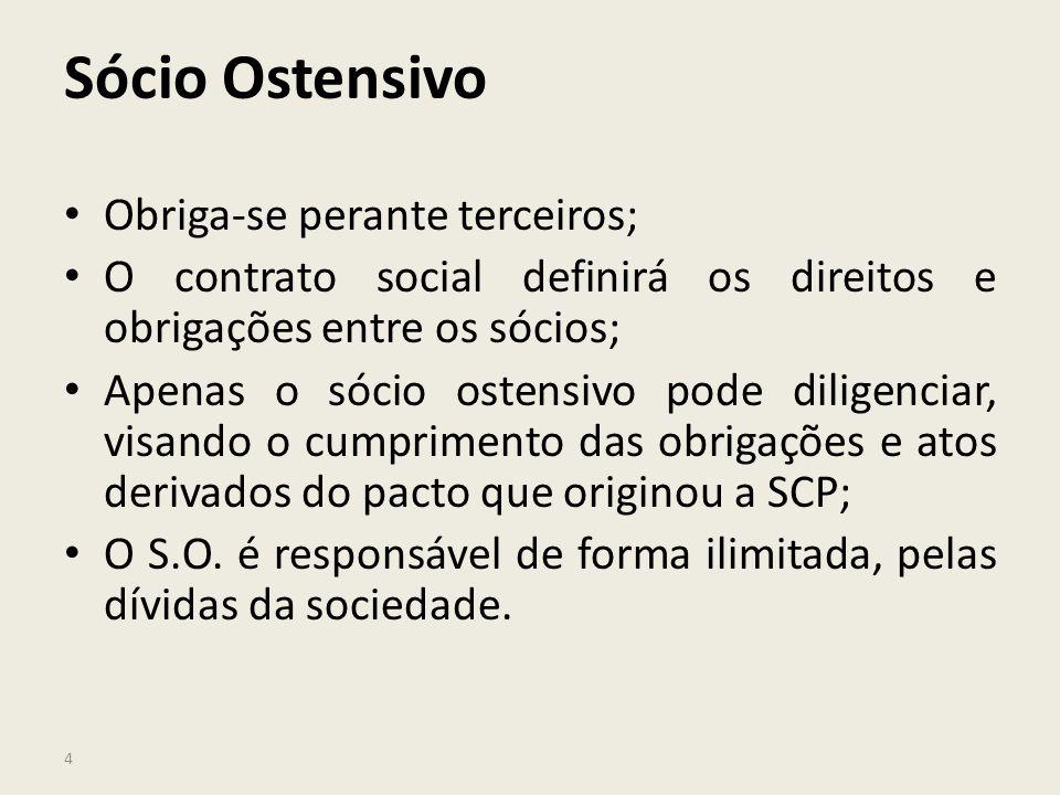 4 Sócio Ostensivo Obriga-se perante terceiros; O contrato social definirá os direitos e obrigações entre os sócios; Apenas o sócio ostensivo pode dili