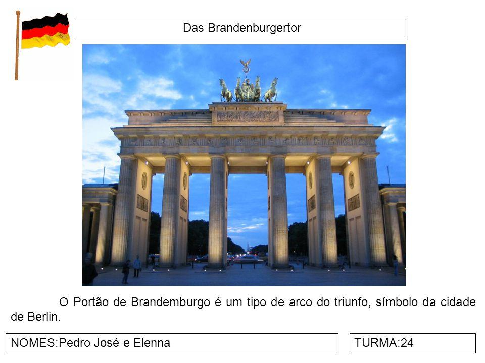 Das Brandenburgertor NOMES:Pedro José e ElennaTURMA:24 O Portão de Brandemburgo é um tipo de arco do triunfo, símbolo da cidade de Berlin.