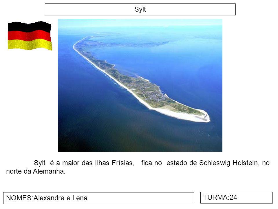 Sylt NOMES:Alexandre e Lena TURMA:24 Sylt é a maior das Ilhas Frísias, fica no estado de Schleswig Holstein, no norte da Alemanha.