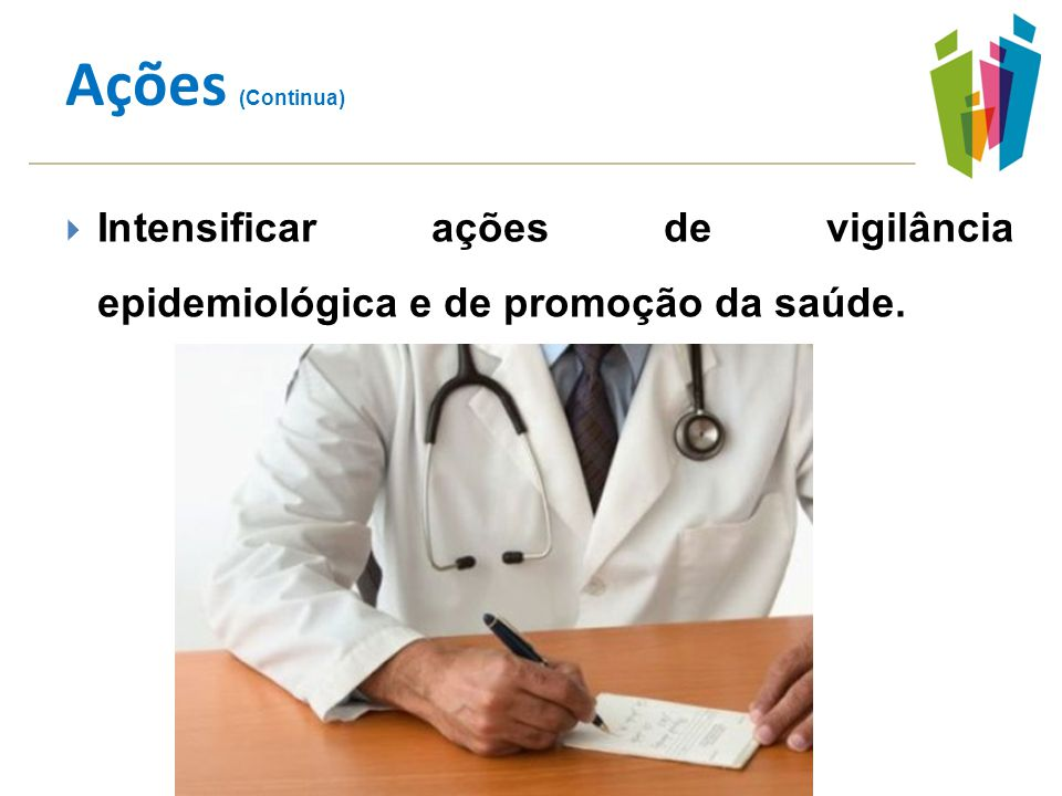 Intensificar ações de vigilância epidemiológica e de promoção da saúde. Ações (Continua)