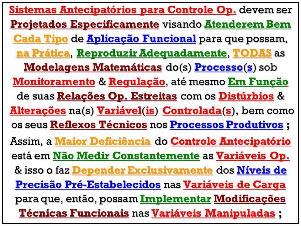 Sistemas Antecipatórios para Controle Op. devem ser Projetados Especificamente visando Atenderem Bem Cada Tipo de Aplicação Funcional para que possam,