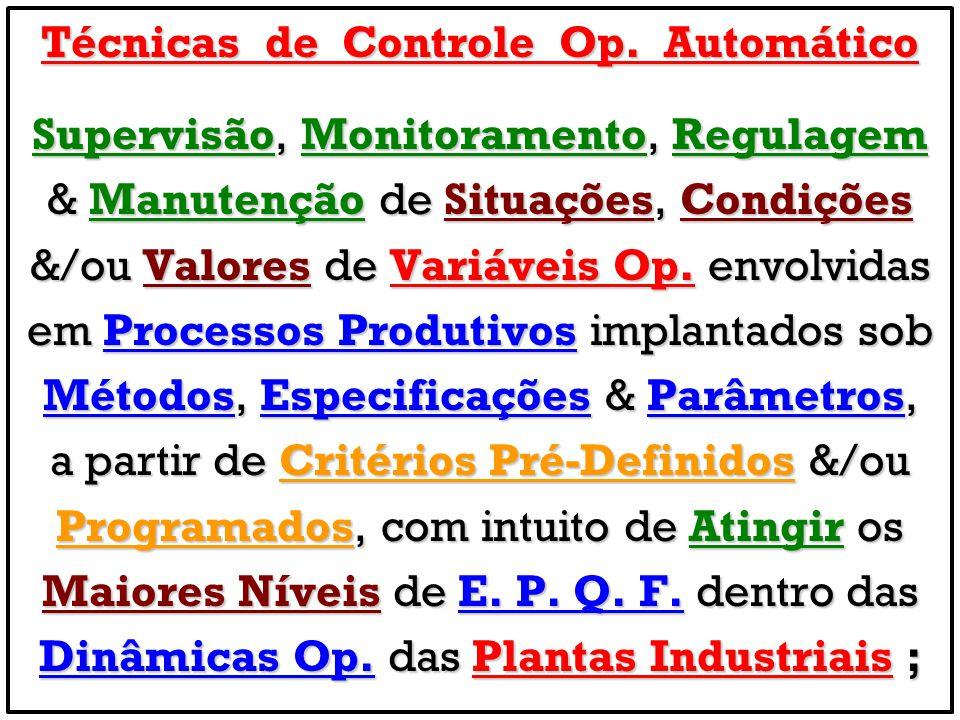 Técnicas de Controle Op. Automático Supervisão, Monitoramento, Regulagem & Manutenção de Situações, Condições &/ou Valores de Variáveis Op. envolvidas