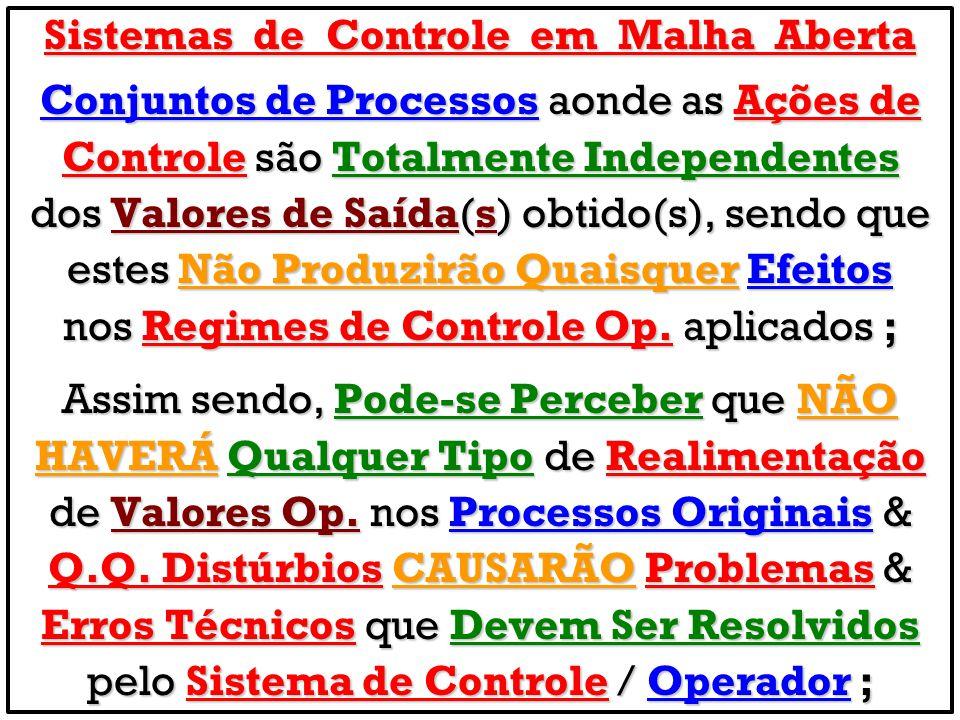 Sistemas de Controle em Malha Aberta Conjuntos de Processos aonde as Ações de Controle são Totalmente Independentes dos Valores de Saída(s) obtido(s),