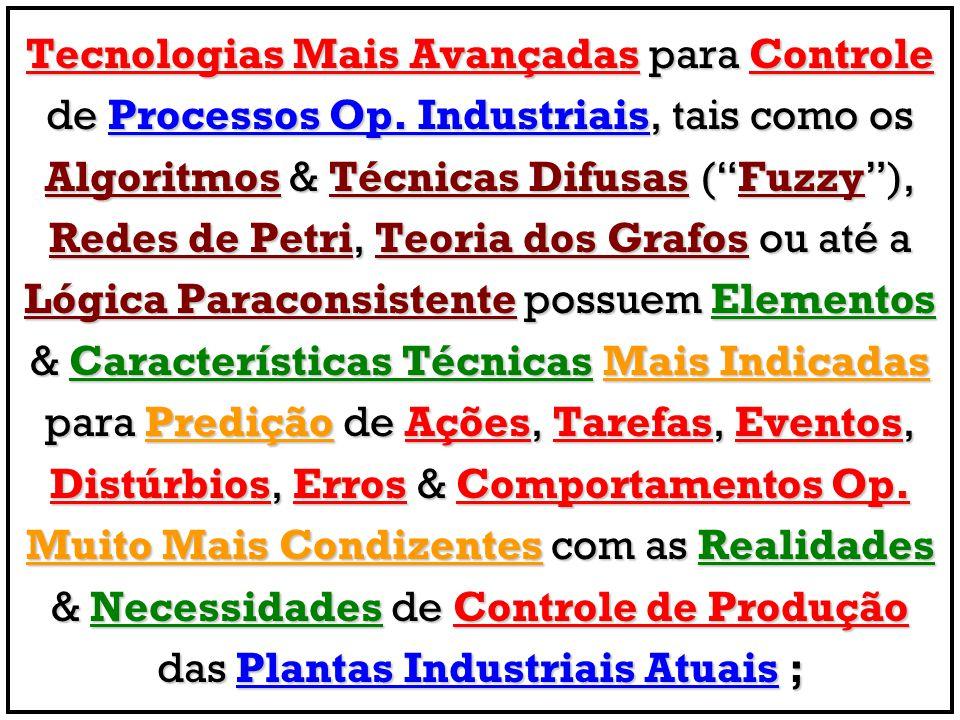 Tecnologias Mais Avançadas para Controle de Processos Op. Industriais, tais como os Algoritmos & Técnicas Difusas (Fuzzy), Redes de Petri, Teoria dos