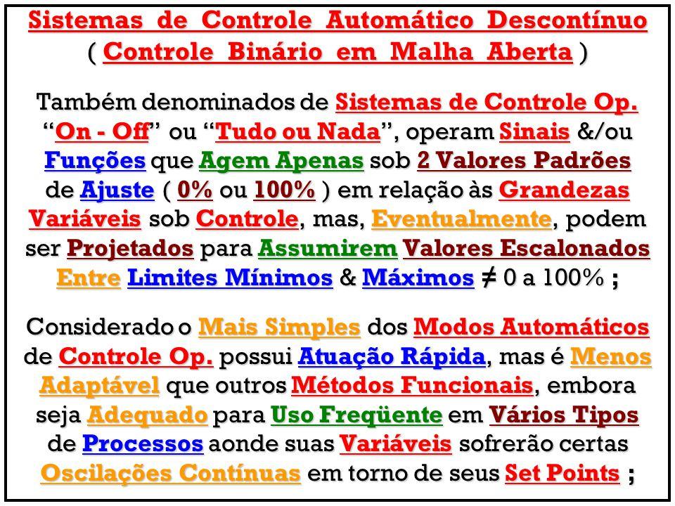 Sistemas de Controle Automático Descontínuo ( Controle Binário em Malha Aberta ) Também denominados de Sistemas de Controle Op. On - Off ou Tudo ou Na