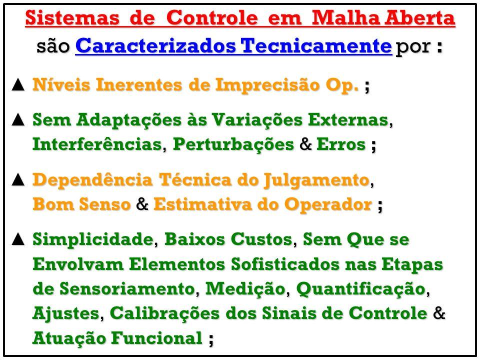 Sistemas de Controle em Malha Aberta são Caracterizados Tecnicamente por : Níveis Inerentes de Imprecisão Op. ; Níveis Inerentes de Imprecisão Op. ; S