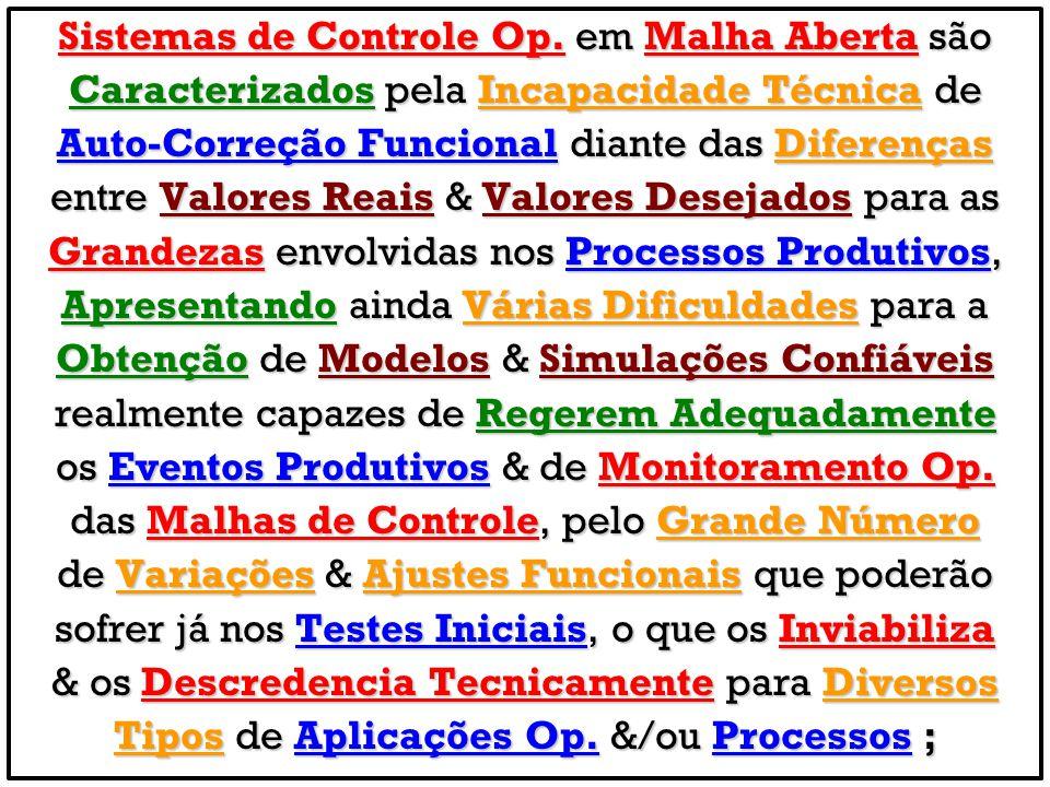 Sistemas de Controle Op. em Malha Aberta são Caracterizados pela Incapacidade Técnica de Auto-Correção Funcional diante das Diferenças entre Valores R