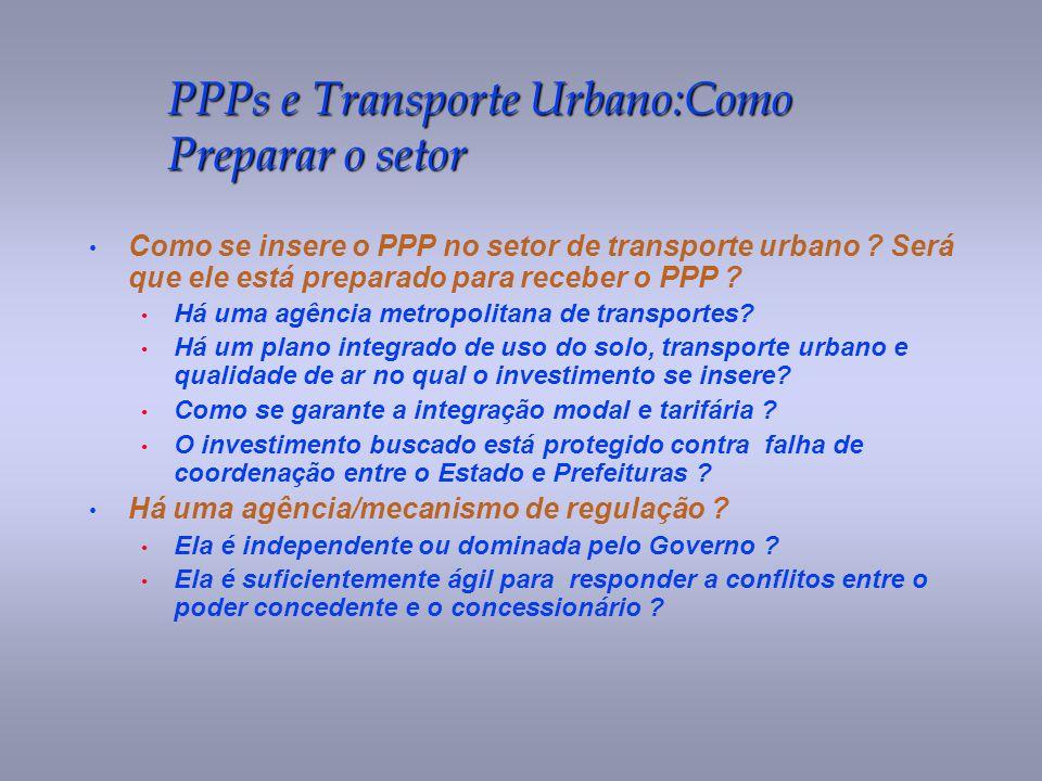 PPPs e Transporte Urbano:Como Preparar o setor Como se insere o PPP no setor de transporte urbano ? Será que ele está preparado para receber o PPP ? H