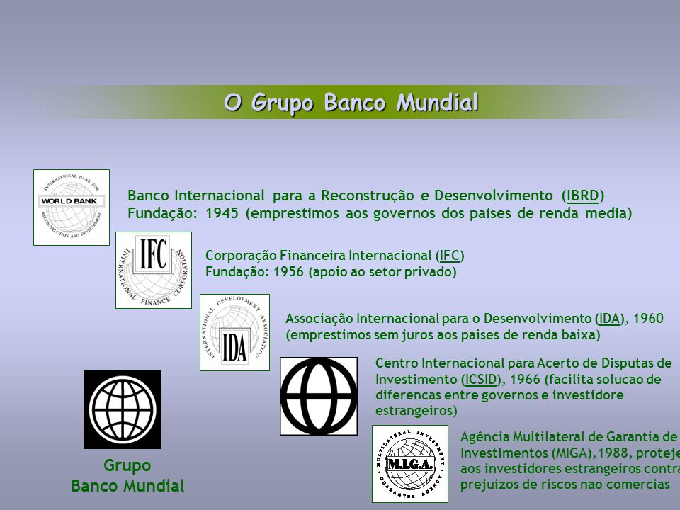 Grupo Banco Mundial Banco Internacional para a Reconstrução e Desenvolvimento (IBRD) Fundação: 1945 (emprestimos aos governos dos países de renda medi