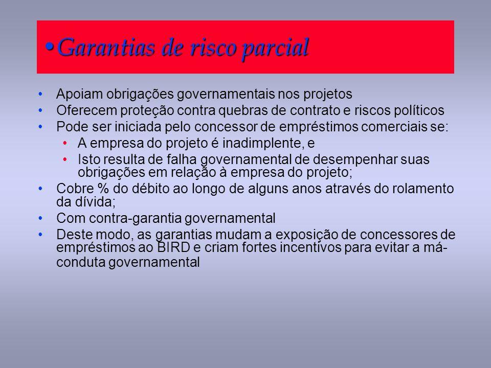 Garantias de risco parcial Garantias de risco parcial Apoiam obrigações governamentais nos projetos Oferecem proteção contra quebras de contrato e ris
