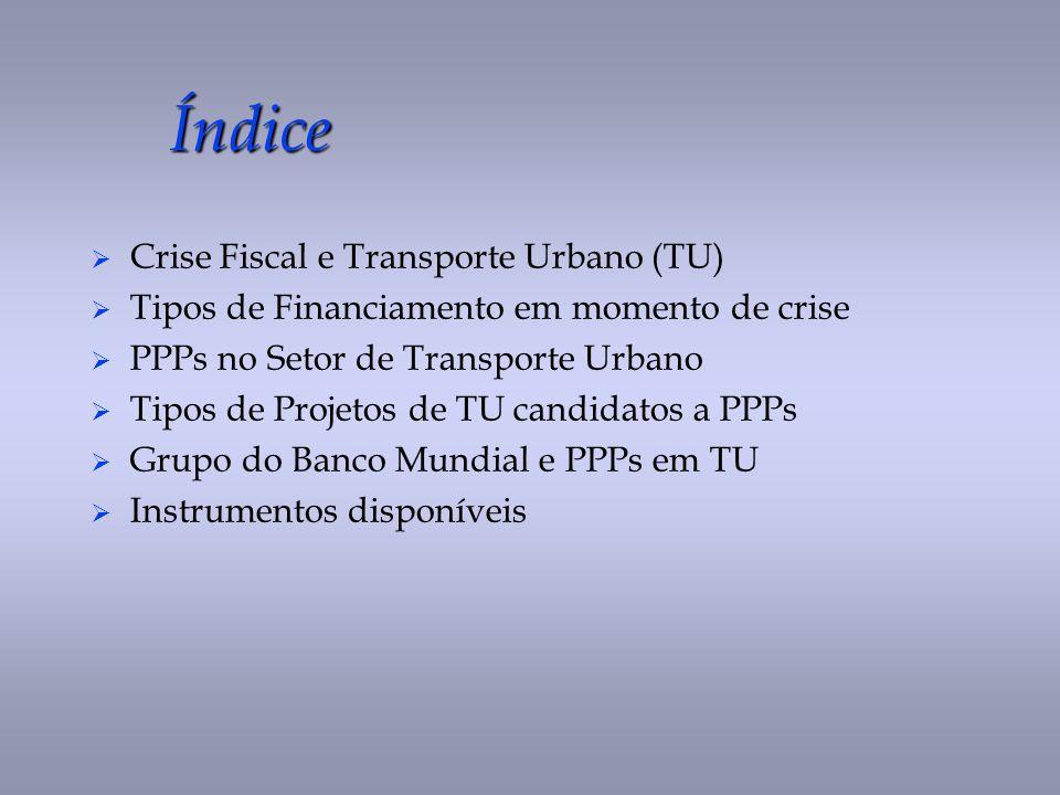 Índice Crise Fiscal e Transporte Urbano (TU) Tipos de Financiamento em momento de crise PPPs no Setor de Transporte Urbano Tipos de Projetos de TU can