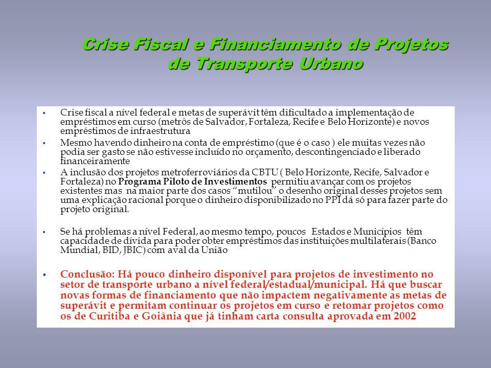 Crise Fiscal e Financiamento de Projetos de Transporte Urbano Crise fiscal a nível federal e metas de superávit têm dificultado a implementação de emp