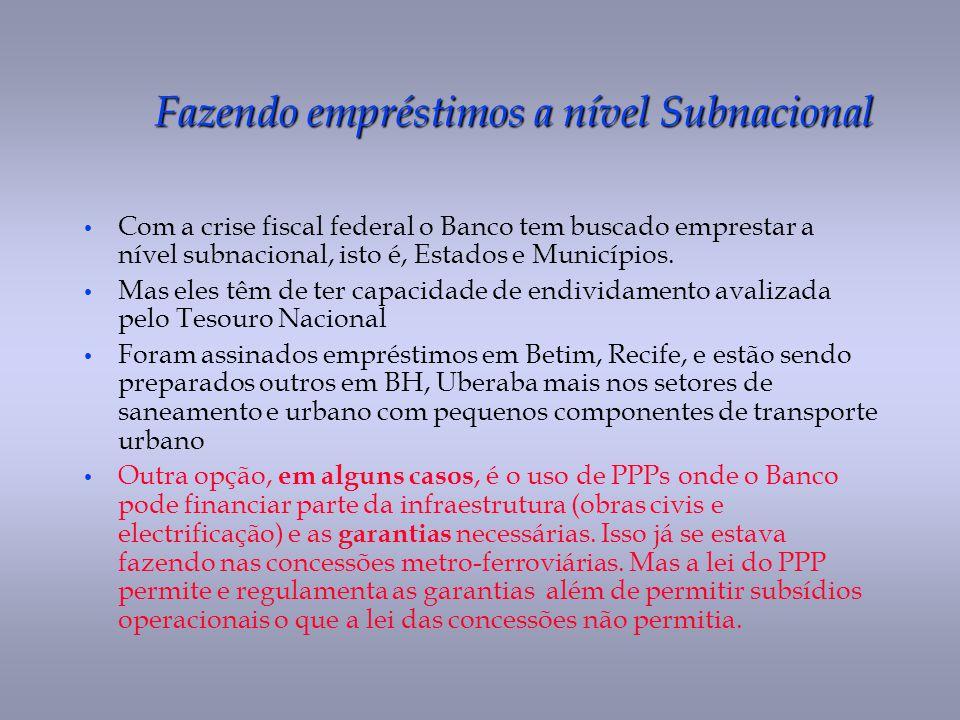 Fazendo empréstimos a nível Subnacional Com a crise fiscal federal o Banco tem buscado emprestar a nível subnacional, isto é, Estados e Municípios. Ma