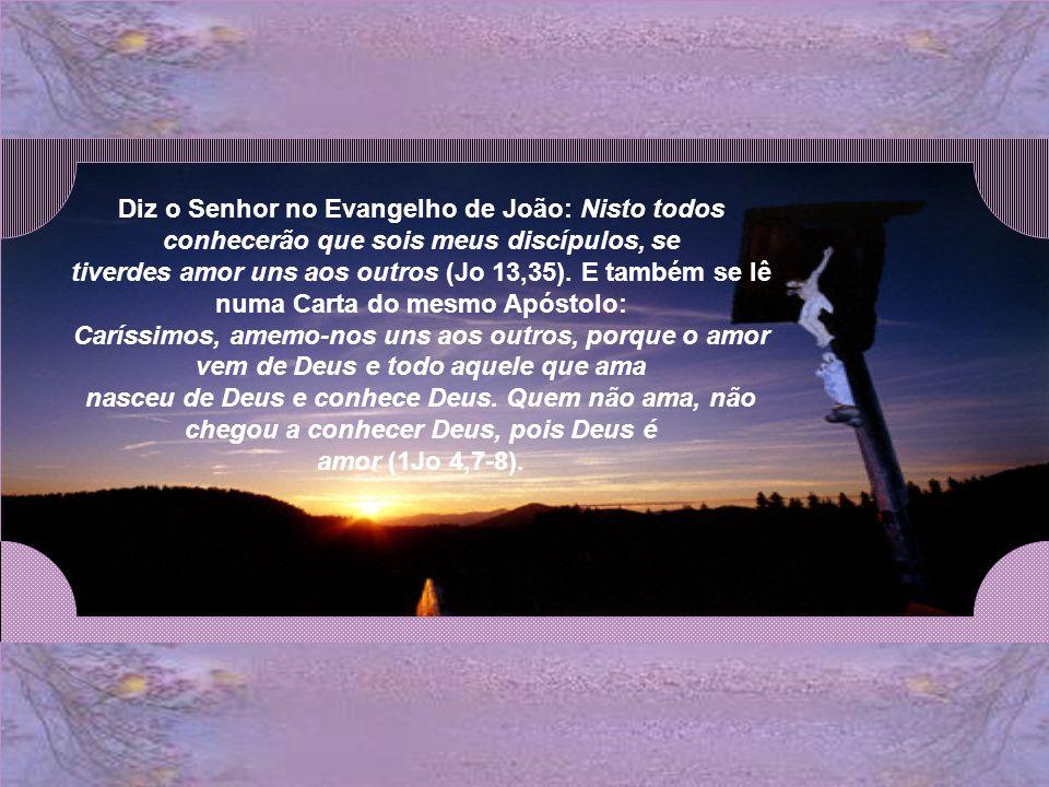 Diz o Senhor no Evangelho de João: Nisto todos conhecerão que sois meus discípulos, se tiverdes amor uns aos outros (Jo 13,35).