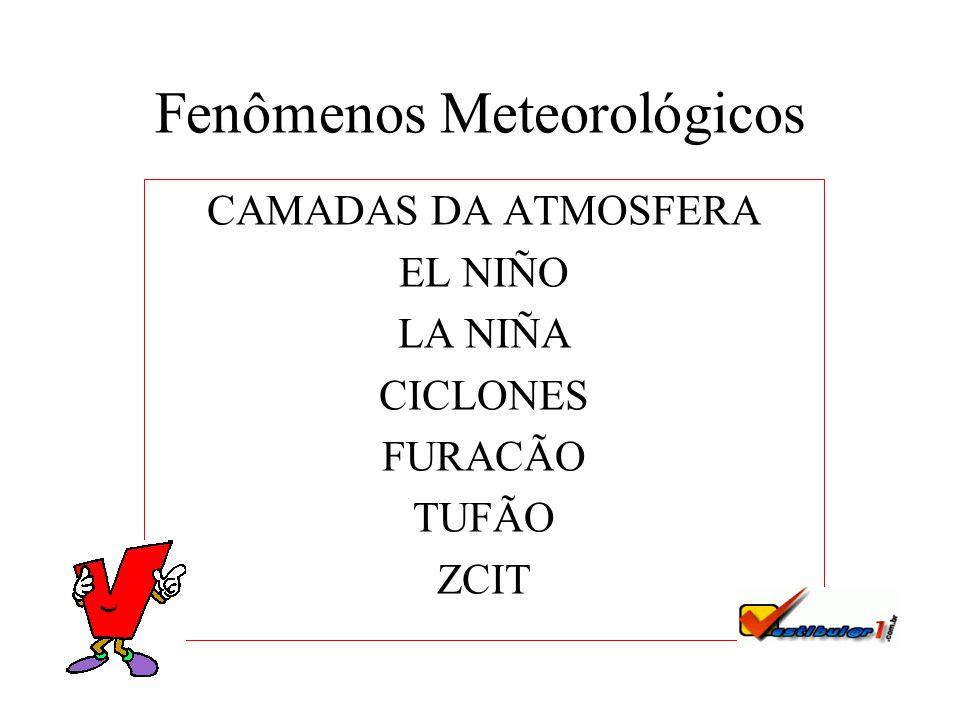 Fenômenos Meteorológicos CAMADAS DA ATMOSFERA EL NIÑO LA NIÑA CICLONES FURACÃO TUFÃO ZCIT