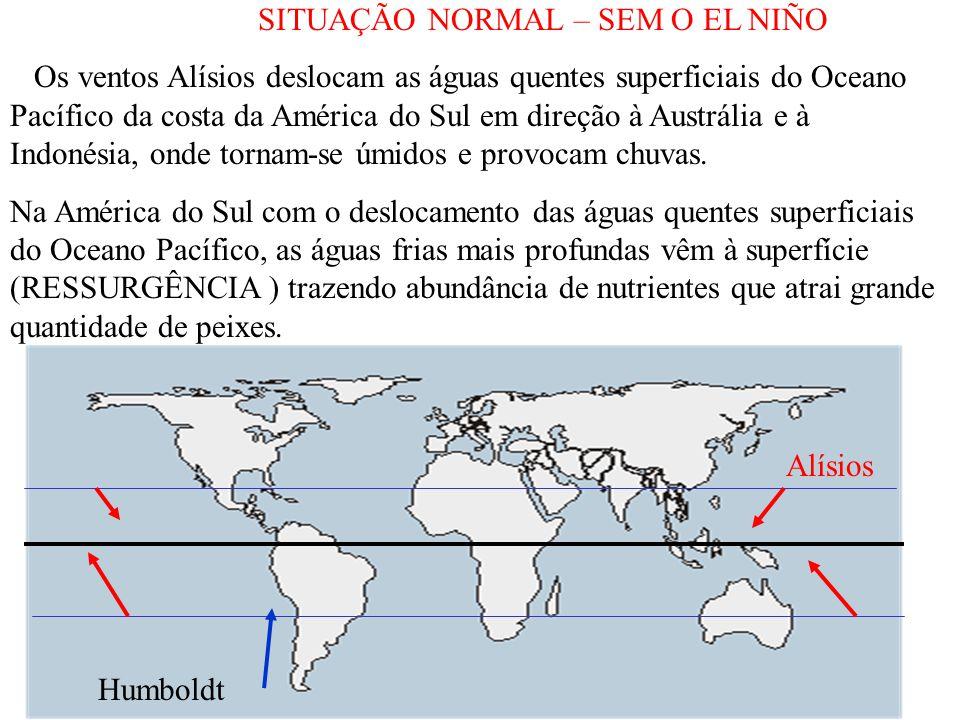 SITUAÇÃO NORMAL – SEM O EL NIÑO Os ventos Alísios deslocam as águas quentes superficiais do Oceano Pacífico da costa da América do Sul em direção à Austrália e à Indonésia, onde tornam-se úmidos e provocam chuvas.