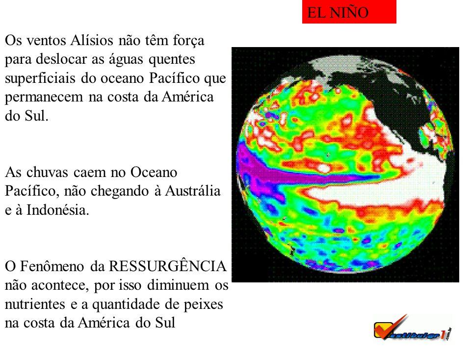 Os ventos Alísios não têm força para deslocar as águas quentes superficiais do oceano Pacífico que permanecem na costa da América do Sul. As chuvas ca