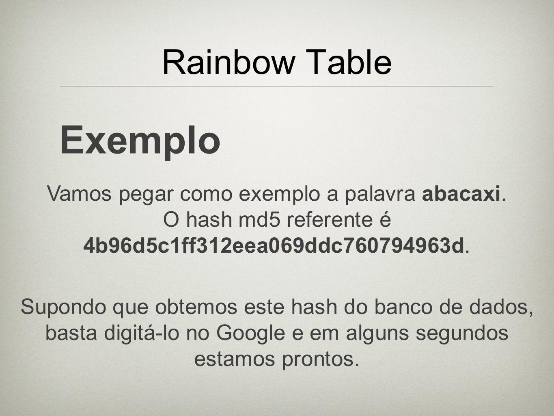 Rainbow Table Exemplo Vamos pegar como exemplo a palavra abacaxi. O hash md5 referente é 4b96d5c1ff312eea069ddc760794963d. Supondo que obtemos este ha