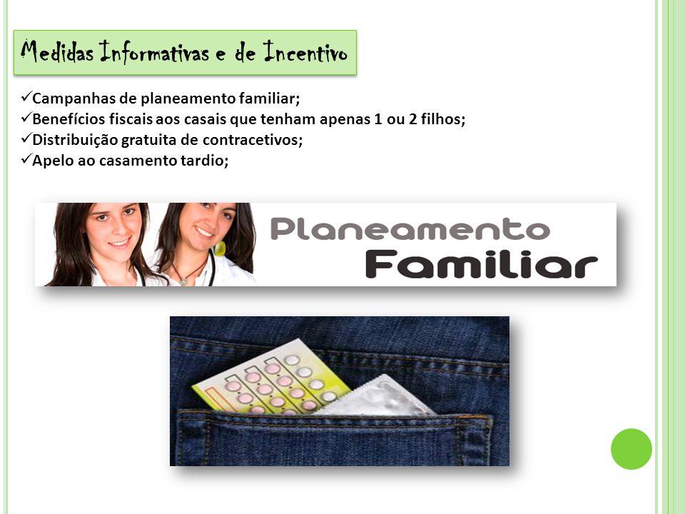 Medidas Informativas e de Incentivo Campanhas de planeamento familiar; Benefícios fiscais aos casais que tenham apenas 1 ou 2 filhos; Distribuição gra