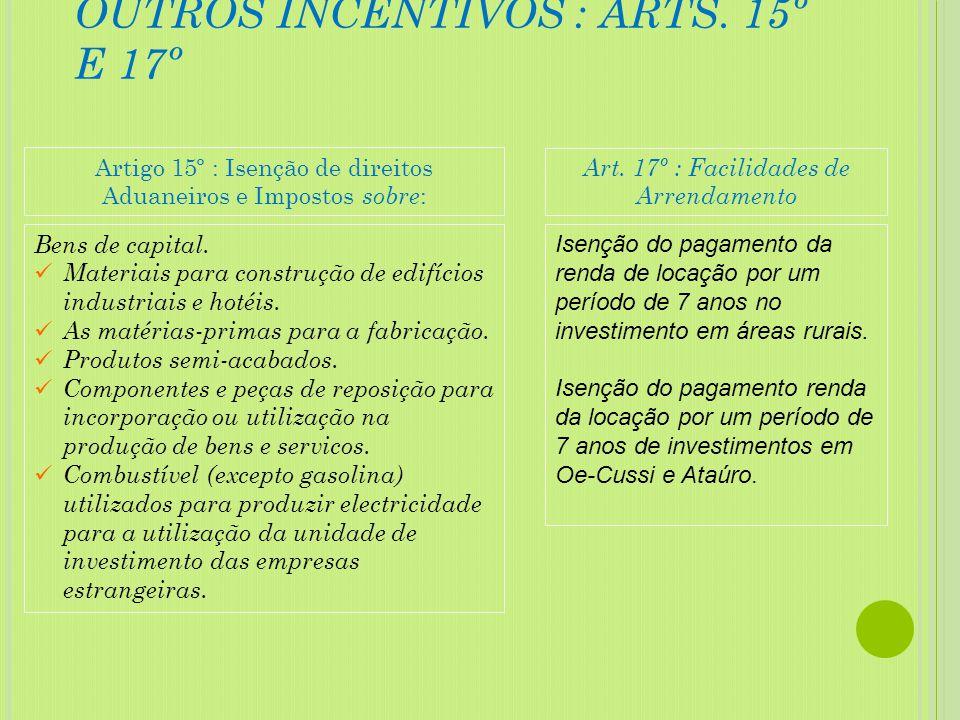 INCENTIVOS FISCAIS : ART. 14º Isenção fiscal de US $ 300 para cada trabalhador timorense contratado a tempo inteiro, de acordo com a localização e o t