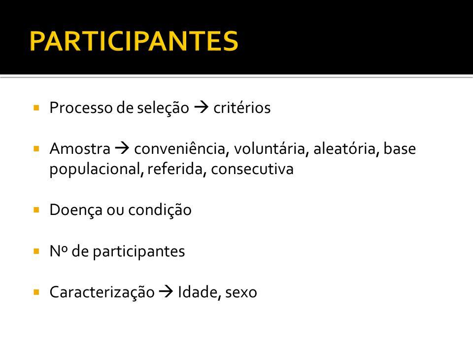 Processo de seleção critérios Amostra conveniência, voluntária, aleatória, base populacional, referida, consecutiva Doença ou condição Nº de participantes Caracterização Idade, sexo