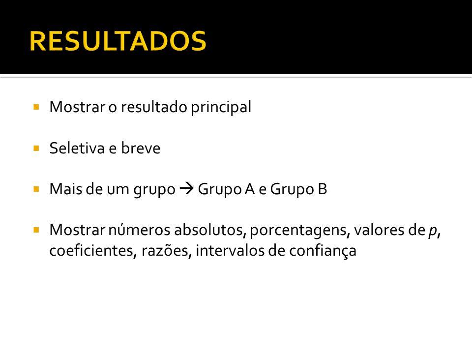 Mostrar o resultado principal Seletiva e breve Mais de um grupo Grupo A e Grupo B Mostrar números absolutos, porcentagens, valores de p, coeficientes, razões, intervalos de confiança