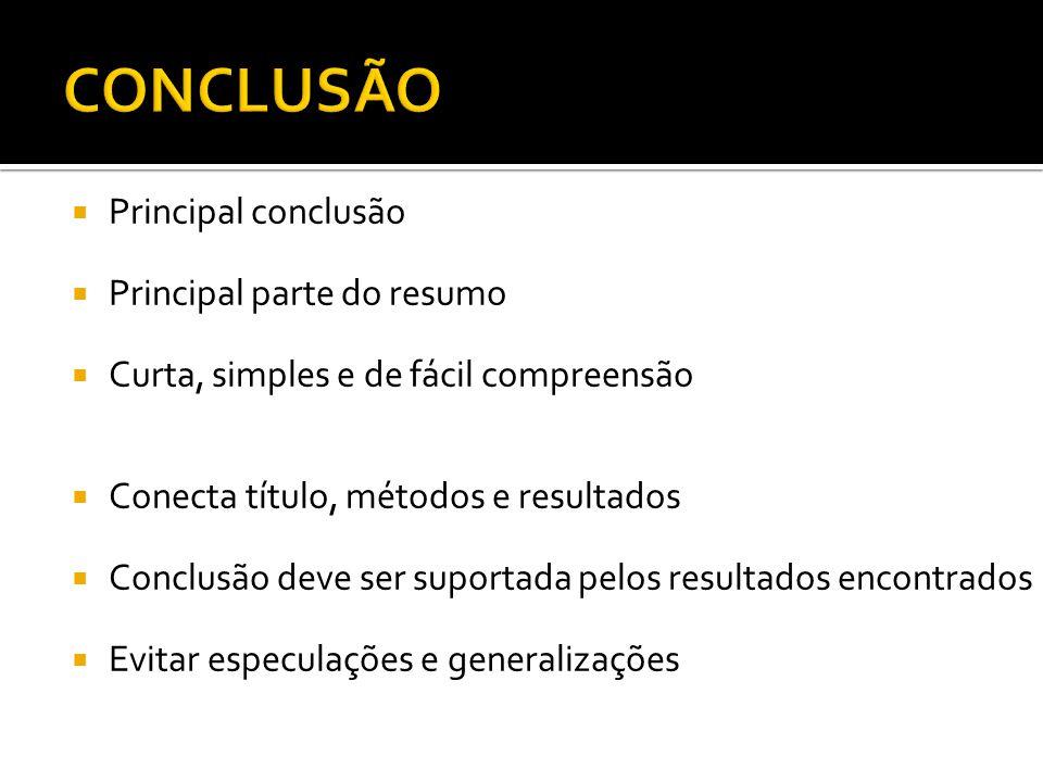 Principal conclusão Principal parte do resumo Curta, simples e de fácil compreensão Conecta título, métodos e resultados Conclusão deve ser suportada pelos resultados encontrados Evitar especulações e generalizações