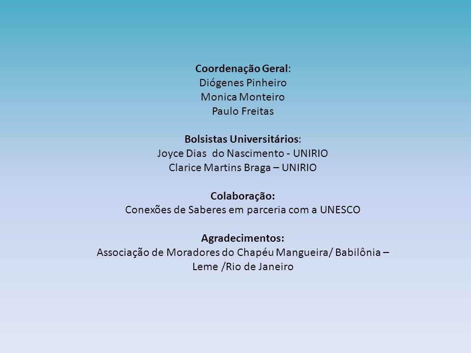 Coordenação Geral: Diógenes Pinheiro Monica Monteiro Paulo Freitas Bolsistas Universitários: Joyce Dias do Nascimento - UNIRIO Clarice Martins Braga –