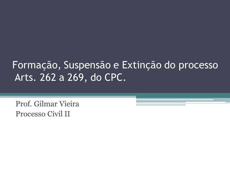 Formação, Suspensão e Extinção do processo Arts. 262 a 269, do CPC. Prof. Gilmar Vieira Processo Civil II