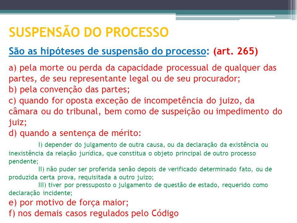 SUSPENSÃO DO PROCESSO São as hipóteses de suspensão do processo: (art. 265) a) pela morte ou perda da capacidade processual de qualquer das partes, de