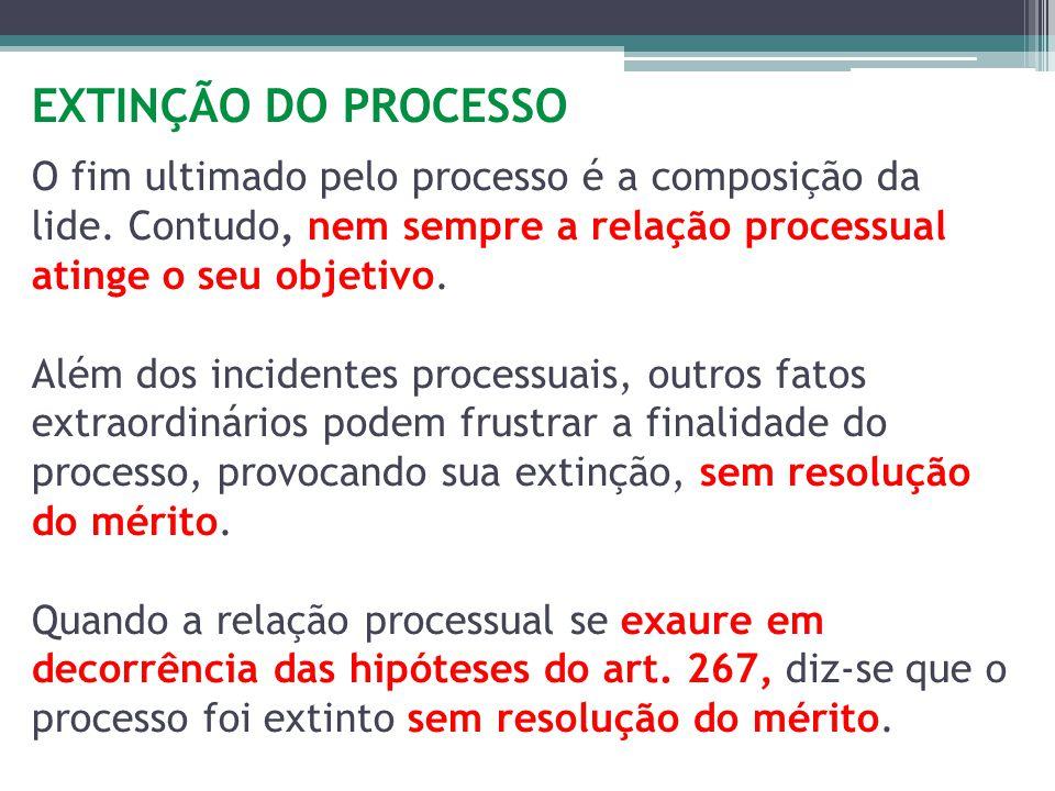 EXTINÇÃO DO PROCESSO O fim ultimado pelo processo é a composição da lide. Contudo, nem sempre a relação processual atinge o seu objetivo. Além dos inc