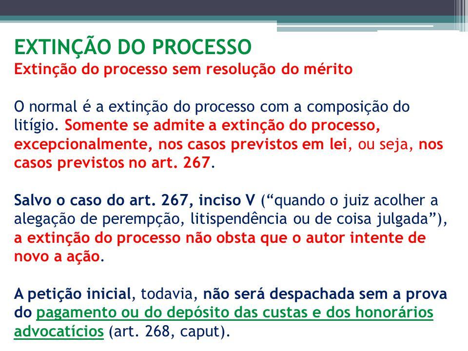 EXTINÇÃO DO PROCESSO Extinção do processo sem resolução do mérito O normal é a extinção do processo com a composição do litígio. Somente se admite a e