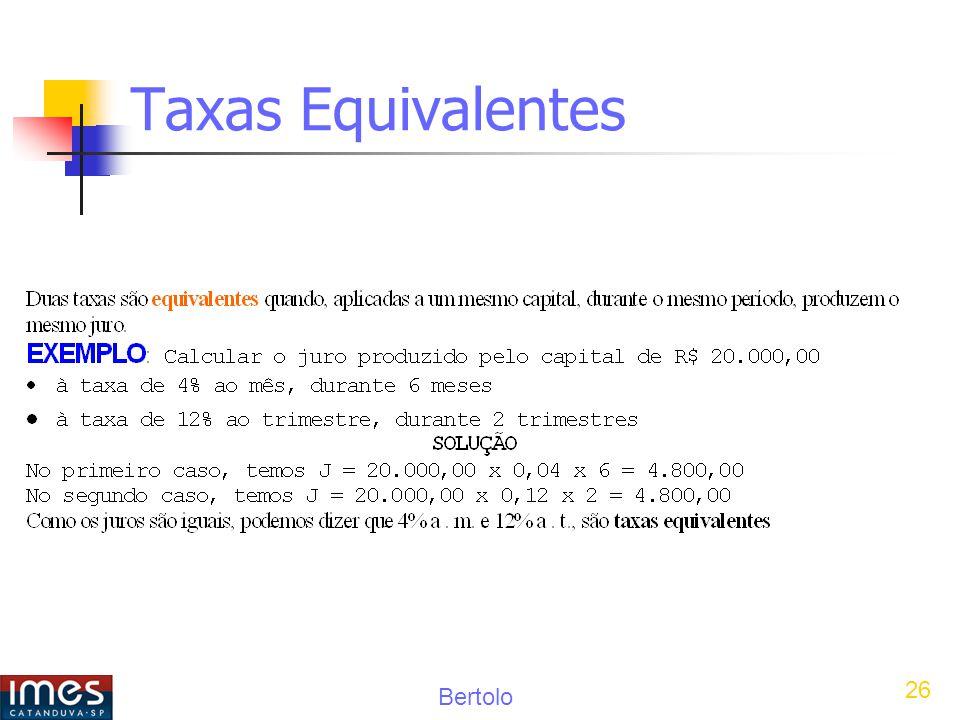 Bertolo 26 Taxas Equivalentes