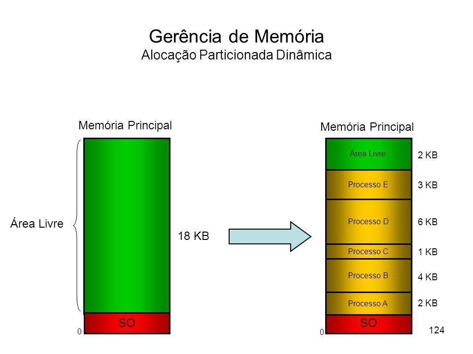 Gerência de Memória Alocação Particionada Dinâmica SO Memória Principal Área Livre SO Processo A Processo B Processo E Processo D Processo C 18 KB 1 KB 6 KB 3 KB 2 KB 4 KB 2 KB Área Livre Memória Principal 124 0 0