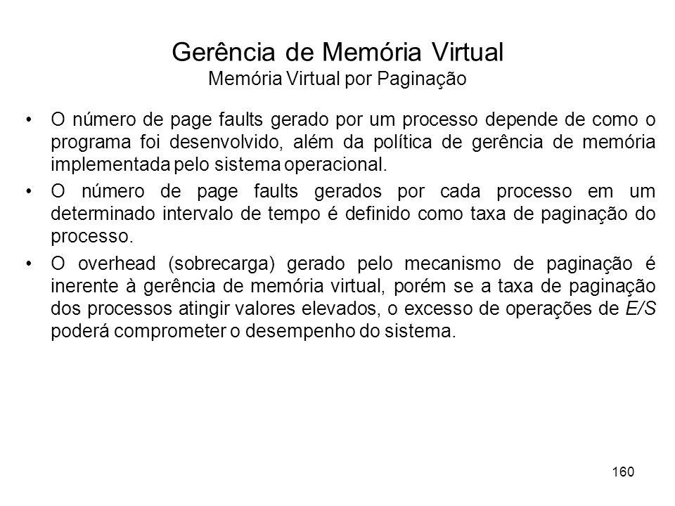 Gerência de Memória Virtual Memória Virtual por Paginação O número de page faults gerado por um processo depende de como o programa foi desenvolvido, além da política de gerência de memória implementada pelo sistema operacional.