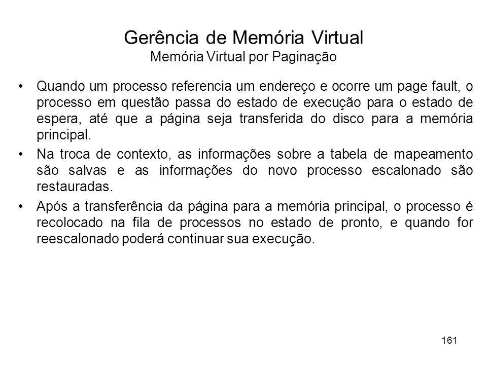 Gerência de Memória Virtual Memória Virtual por Paginação Quando um processo referencia um endereço e ocorre um page fault, o processo em questão passa do estado de execução para o estado de espera, até que a página seja transferida do disco para a memória principal.