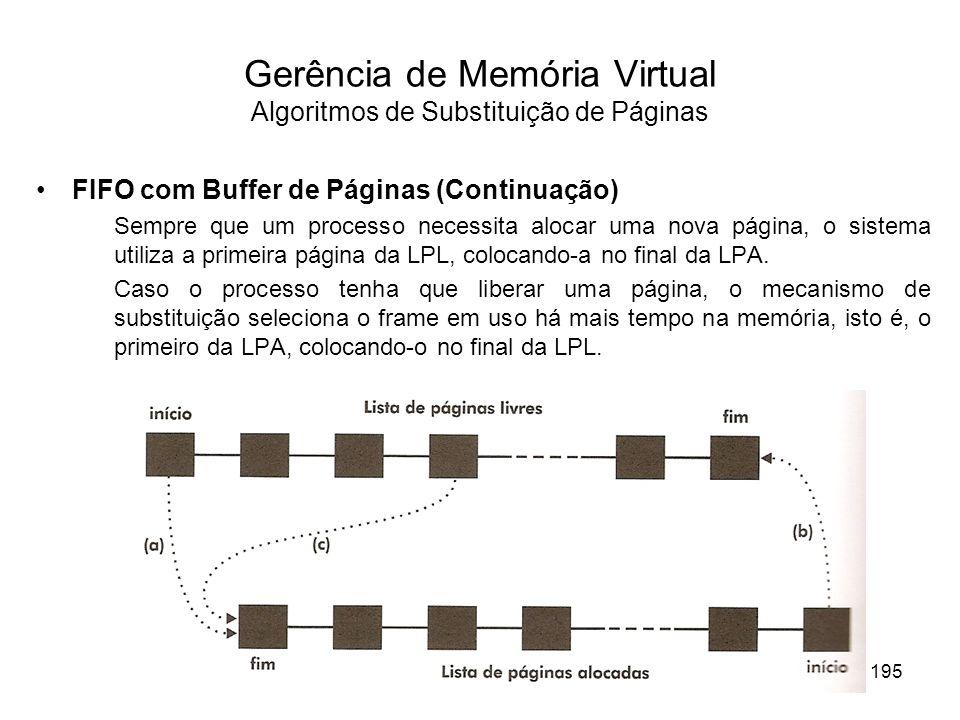 FIFO com Buffer de Páginas (Continuação) Sempre que um processo necessita alocar uma nova página, o sistema utiliza a primeira página da LPL, colocando-a no final da LPA.