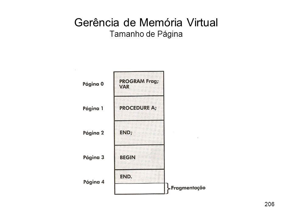 Gerência de Memória Virtual Tamanho de Página 206