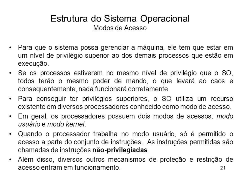 Estrutura do Sistema Operacional Modos de Acesso Para que o sistema possa gerenciar a máquina, ele tem que estar em um nível de privilégio superior ao dos demais processos que estão em execução.