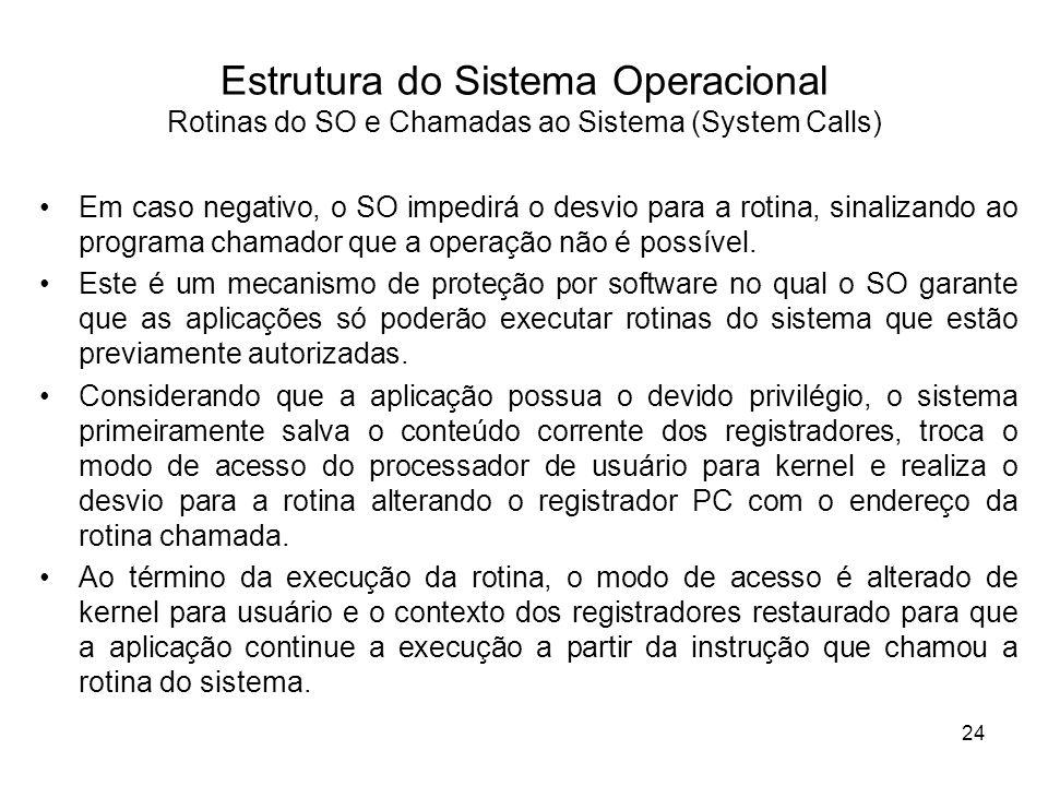 Estrutura do Sistema Operacional Rotinas do SO e Chamadas ao Sistema (System Calls) Em caso negativo, o SO impedirá o desvio para a rotina, sinalizando ao programa chamador que a operação não é possível.