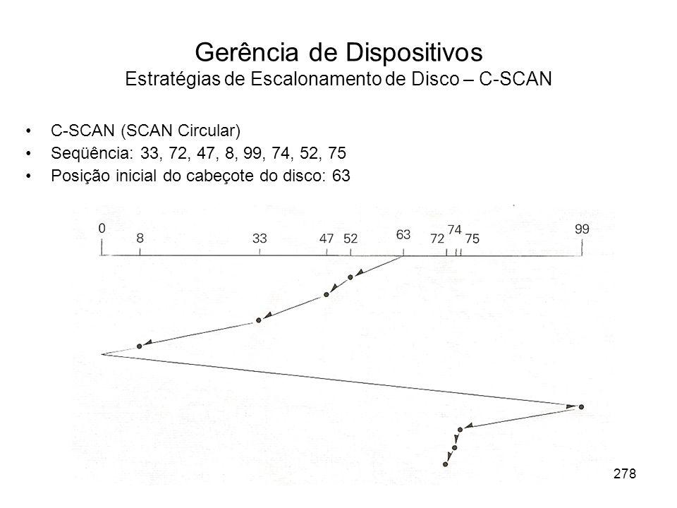 Gerência de Dispositivos Estratégias de Escalonamento de Disco – C-SCAN C-SCAN (SCAN Circular) Seqüência: 33, 72, 47, 8, 99, 74, 52, 75 Posição inicial do cabeçote do disco: 63 278