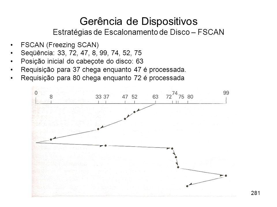 Gerência de Dispositivos Estratégias de Escalonamento de Disco – FSCAN FSCAN (Freezing SCAN) Seqüência: 33, 72, 47, 8, 99, 74, 52, 75 Posição inicial do cabeçote do disco: 63 Requisição para 37 chega enquanto 47 é processada.