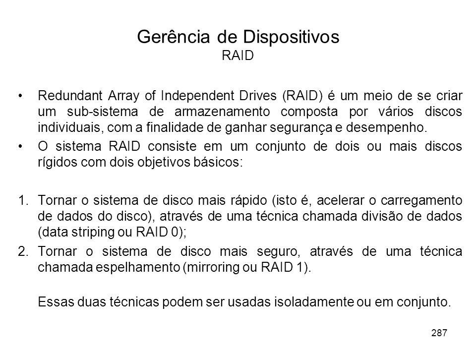 Gerência de Dispositivos RAID Redundant Array of Independent Drives (RAID) é um meio de se criar um sub-sistema de armazenamento composta por vários discos individuais, com a finalidade de ganhar segurança e desempenho.