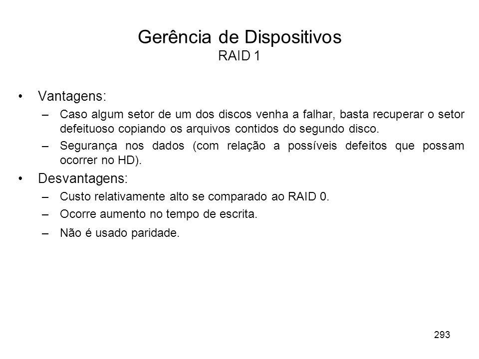 Gerência de Dispositivos RAID 1 Vantagens: –Caso algum setor de um dos discos venha a falhar, basta recuperar o setor defeituoso copiando os arquivos contidos do segundo disco.
