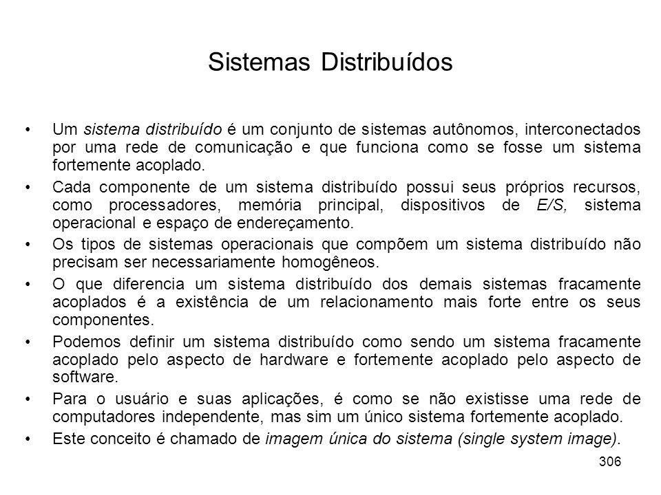 Sistemas Distribuídos Um sistema distribuído é um conjunto de sistemas autônomos, interconectados por uma rede de comunicação e que funciona como se fosse um sistema fortemente acoplado.